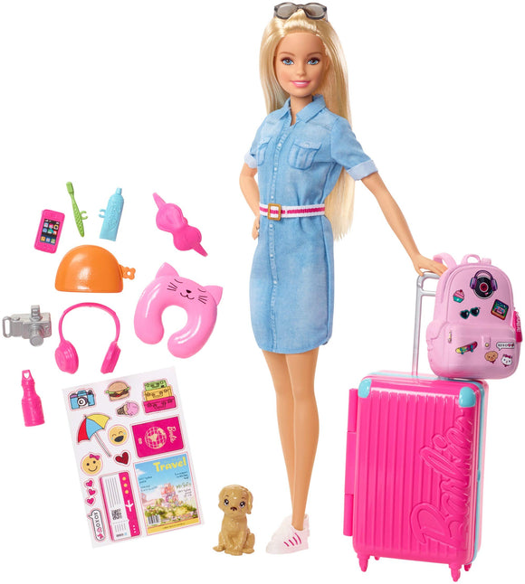 Barbie Doll and Travel Set with Puppy, Luggage & 10+ Accessories - Garrison City Toy Work's