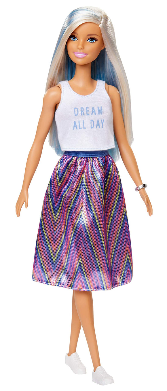 Barbie Fashionistas Doll with Long Blue and Platinum Blonde Hair Wearing 'Dream All Day' Tank, Striped Skirt and Accessories, for 3 to 8 Year Olds