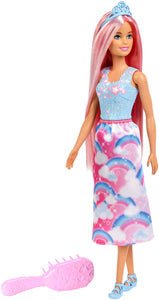 Barbie Doll, Rainbow Princess Look with Extra-Long Pink Hair, Plus Hairbrush, for 3 to 7 Year Olds - Garrison City Toy Work's