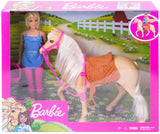 Barbie Doll, Blonde, Wearing Riding Outfit with Helmet, and Light Brown Horse with Soft White Mane and Tail, Gift for 3 to 7 Year Olds - Garrison City Toy Work's