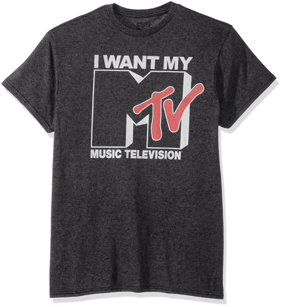 Nickelodeon Men's Want Logo T-Shirt, Premium Charcoal Heather, Large - Garrison City Toy Work's