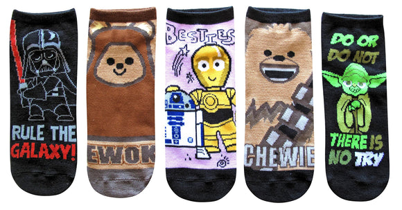 Star Wars Ewok Vader Droids Chewie Yoda Juniors/Womens 5 Pack Ankle Socks Size 4-10 - Garrison City Toy Work's