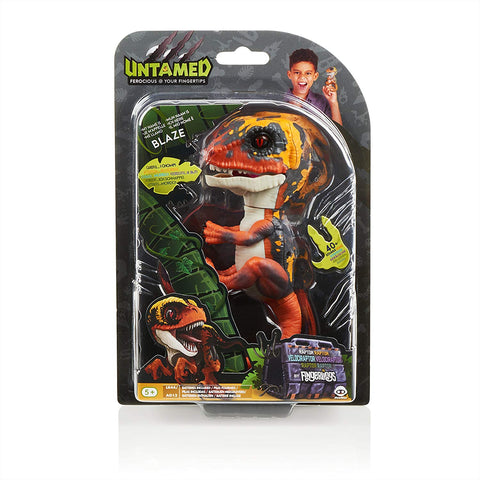 Untamed Raptor by Fingerlings - Blaze (Orange) - Interactive Collectible Dinosaur - By WowWee