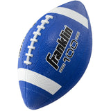 Franklin Sports Junior Football - Grip-Rite 100 - Kids Junior Size Rubber Football - Youth Football - Durable Outdoor Rubber Football - Blue/White - Garrison City Toy Work's