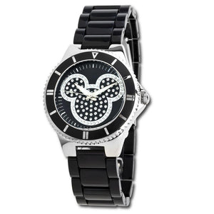 Pavé Crystal Mickey Mouse Watch in Black for Women - Garrison City Toy Work's
