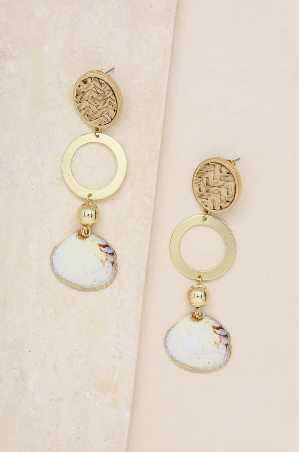 Natural Boho Shell Earrings in Gold