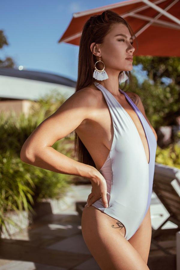 Molly One Piece Swimwear - GREY/PURPLE