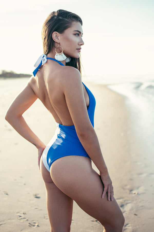 Molly One Piece Swimwear - BLUE/WHITE