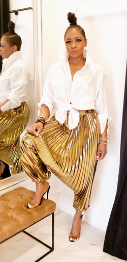ALL GOLD EVERYTHING PLEATED PANTS