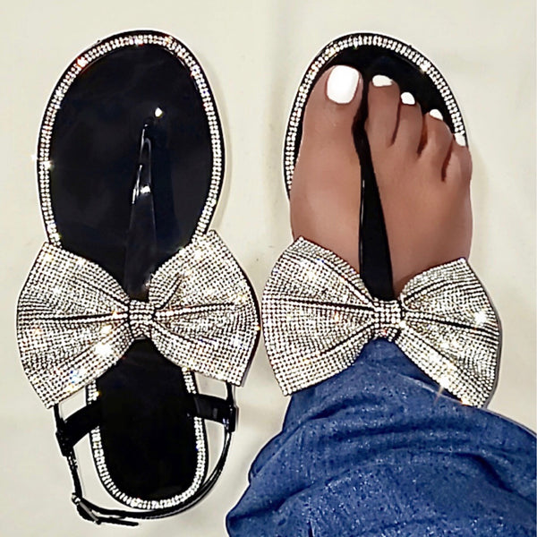 """SHE GLITZY""  RHINESTONE SANDALS"