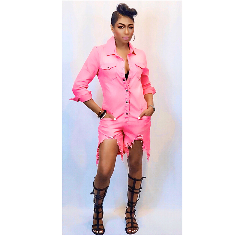 """PINK SAVAGE"" DENIM ROMPER"