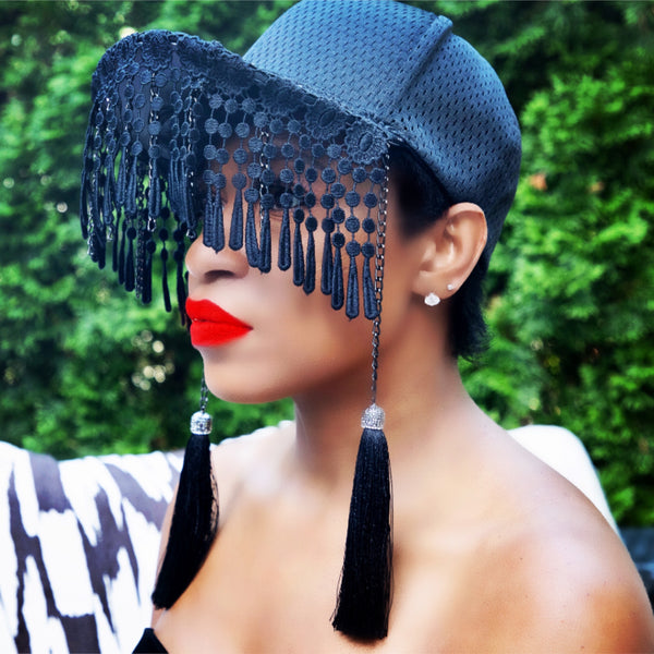 JP HARPER NYC fitted baseball cap tassel veil hat with chains and fringe