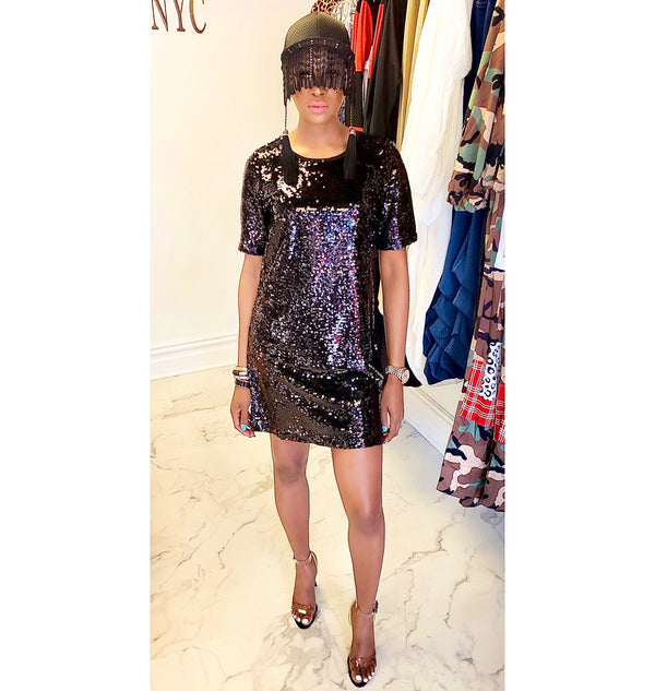 SEQUIN | SHIRT DRESS (Size S - L)