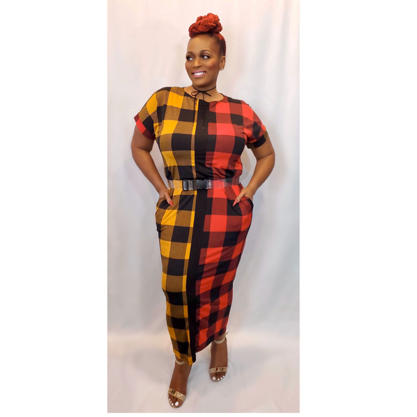 """CHECK ON IT"" MIDI DRESS (PLUS SIZE)"