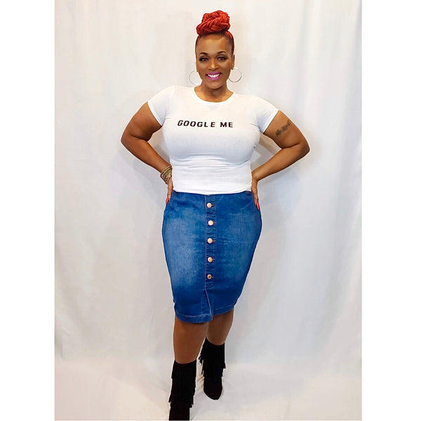 SO UNBOTHERED | JEAN SKIRT (PLUS SIZE)