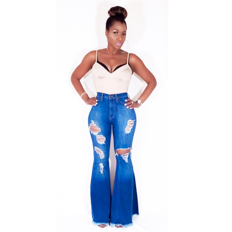 """CURVY BABY"" EXTREME FLARE JEANS (Available up to Size 3X)"