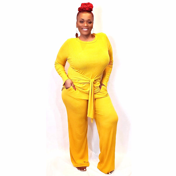 """IN MY LANE"" KNIT PALAZZO SET (PLUS SIZE)"