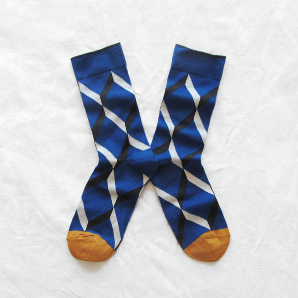 Blue and White Diamond Socks