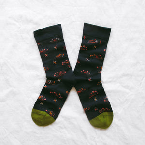 Pink floral and bird socks