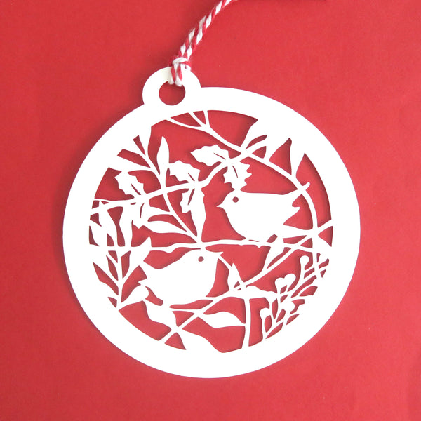 "Pop out ""2 little robin bauble"" Christmas card"