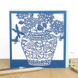 Chinese vase and hydrangeas