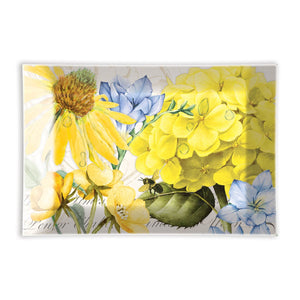 Glass Soap Dish - Blue/ Yellow Flower