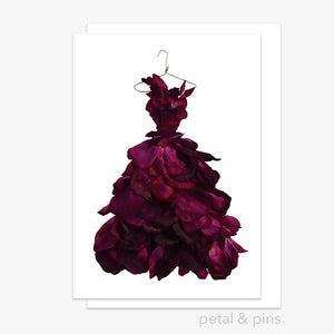 Red Rose Wine Dress Card