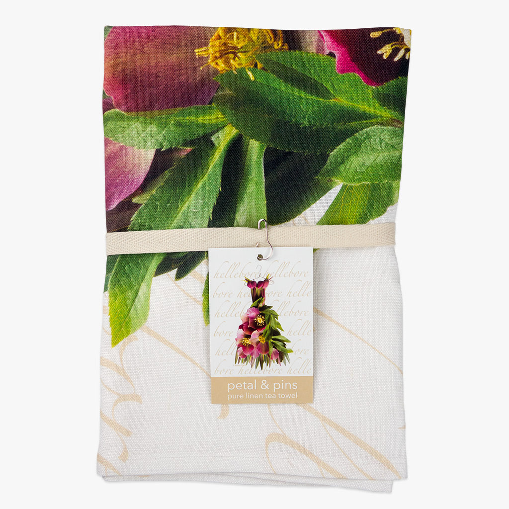 Crimson Hellebore Gown Tea Towel