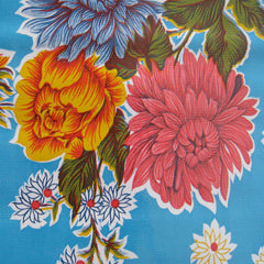 Mexican Oilcloth Blue Floral Pattern