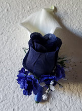 Load image into Gallery viewer, Navy Blue Silver White Rose Calla Lily