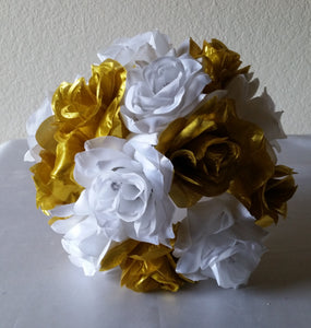 Bright Gold White Rhinestone Rose