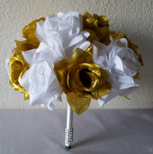 Load image into Gallery viewer, Bright Gold White Rhinestone Rose
