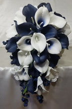 Load image into Gallery viewer, Navy Blue Ivory White Calla Lily
