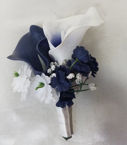 Navy Blue Ivory White Calla Lily