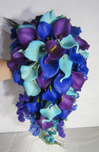 Load image into Gallery viewer, Peacock Royal Blue Purple Turquoise Calla Lily