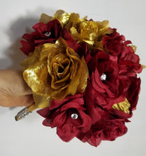 Load image into Gallery viewer, Dark Red Gold Rose Hydrangea
