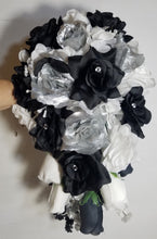 Load image into Gallery viewer, Black Silver White Rose Hydrangea