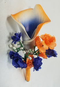 Royal Blue Orange Rose Calla Lily