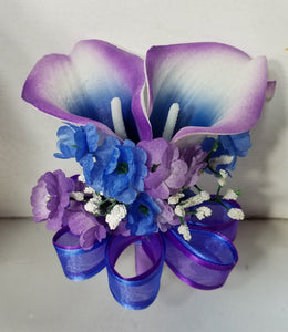 Purple Royal Blue Rose Calla Lily
