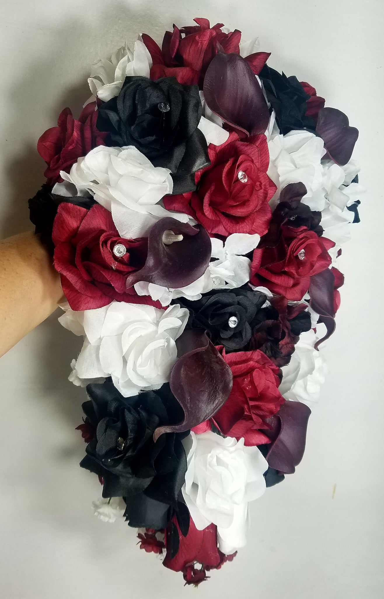 Burgundy Black White Rose Calla Lily Bridal Wedding Bouquets
