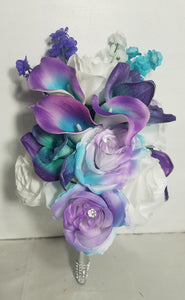 Purple Turquoise White Rose Calla Lily Orchid
