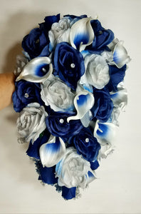 Silver Navy Blue Rose Calla Lily