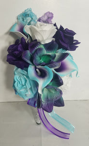 Turquoise Purple White Rose Calla Lily Orchid