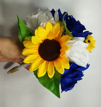 Load image into Gallery viewer, Royal Blue White Rose Sunflower Bouquet & Boutonniere