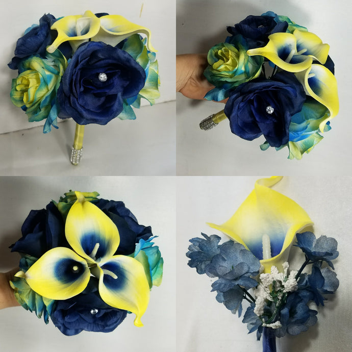 Yellow Navy Blue Rose Calla Lily