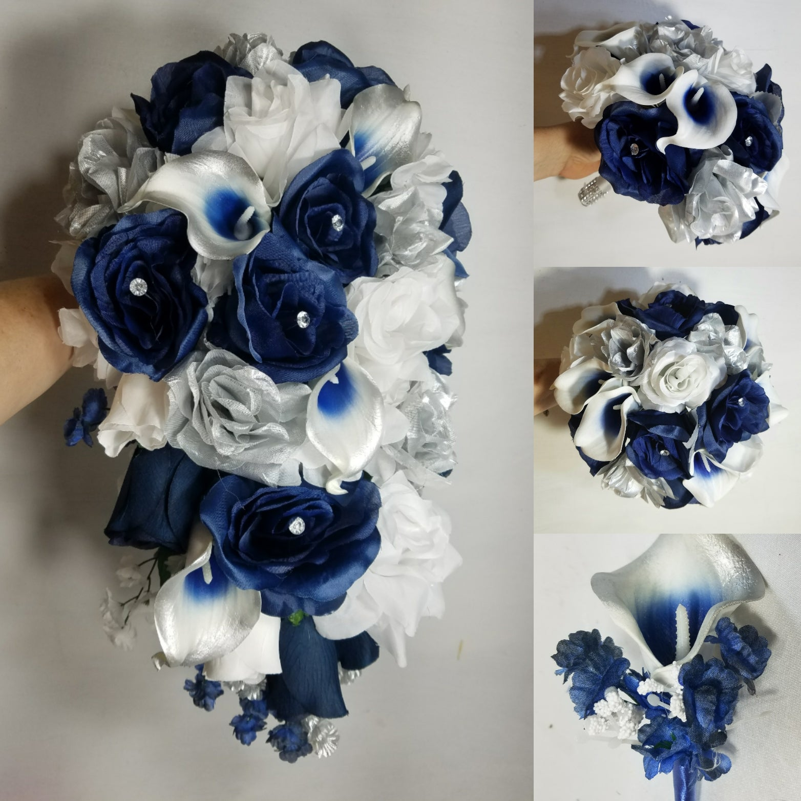 Navy Blue Silver White Rose Calla Lily Bridal Wedding Bouquet Bridal Wedding Bouquets
