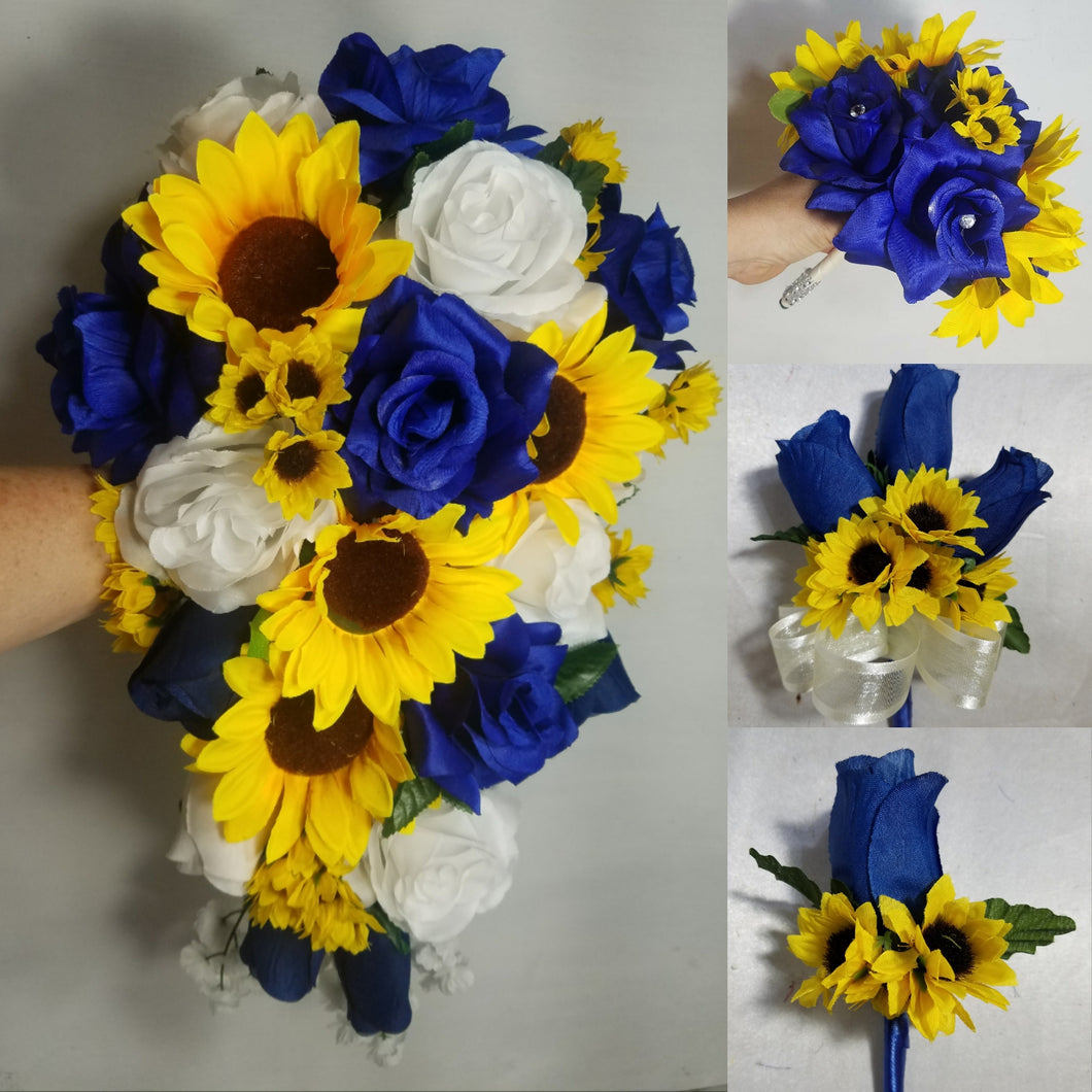Royal Blue White Rose Sunflower Bouquet & Boutonniere