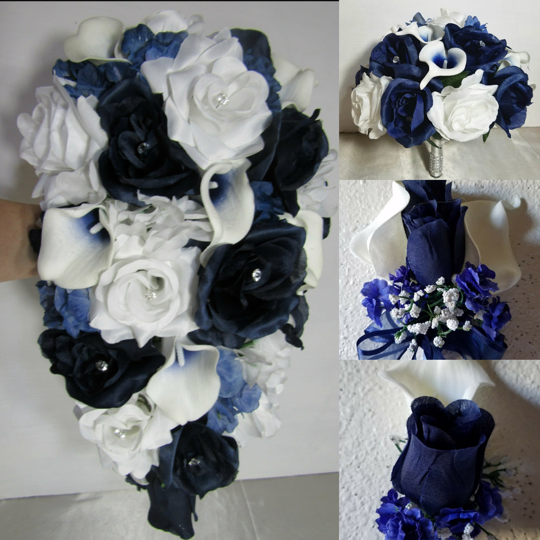 Navy Blue White Rose Calla Lily