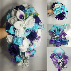 Turquoise Purple White Rose Calla Lily