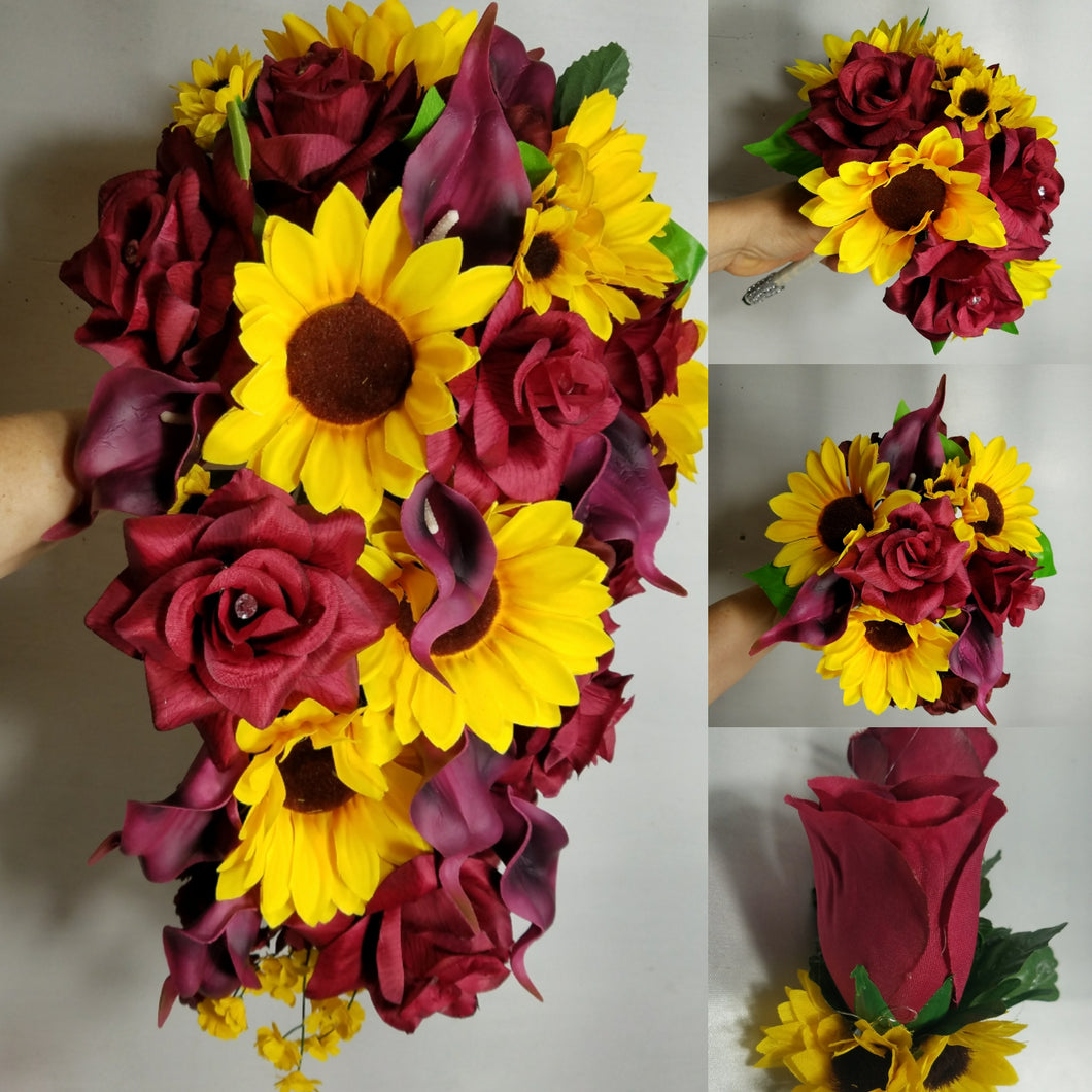 Burgundy Rose Calla Lily Sunflower